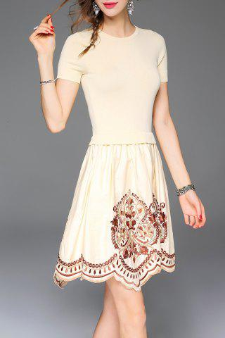 Outfits Embroidered A Line Short Sleeve Dress - S APRICOT Mobile