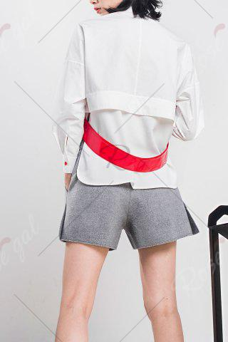 Chic Woool Blend Patched Shorts - M GRAY Mobile