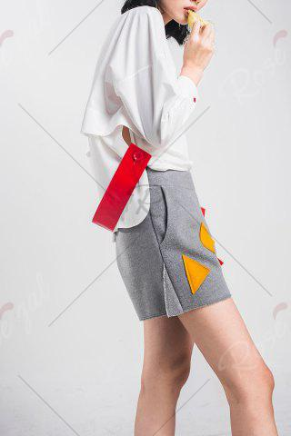 Affordable Woool Blend Patched Shorts - M GRAY Mobile