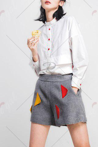 Latest Woool Blend Patched Shorts - M GRAY Mobile