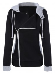 Oblique Zipper Slim Fit Jacket with Hood - BLACK