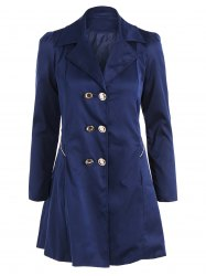 Fit and Flare Coat With Double Breasts - CADETBLUE