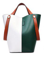 PU Leather Color Block Tote -
