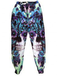Men's Sports Style Narrow Feet Skull Printed Lace Up Jogging Pants -