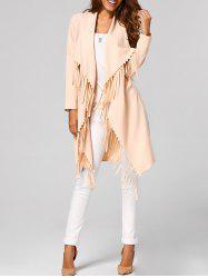 Fringed Open-Front Asymmetrical Trench Coat - APRICOT