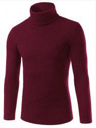 Turtle Neck Slimming Vertical Stripe Long Sleeve Sweater - RED 3XL