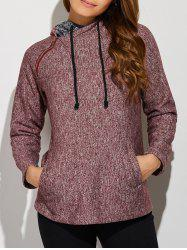 Inclined Zipper Front Pocket Hoodie - BRICK RED XL