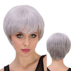 Skilful Silver Grey Short Side Bang Straight Women's Cosplay Lolita Synthetic Wig