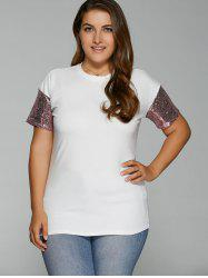 Plus Size Drop Shoulder Sequined Sleeve T-Shirt -