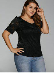 Plus Size Open Back Lace T-Shirt