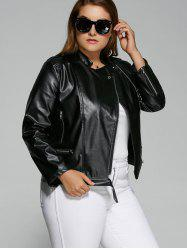 Plus Size Inclined Zipper Biker Jacket - BLACK