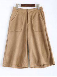 Sueded Cropped Wide Leg Pants - LIGHT CAMEL