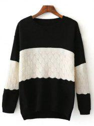 Crew Neck Color Block High Low Sweater -
