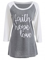 Letter  Raglan Sleeve Funny Graphic Tees - GRAY XL