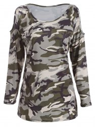 Cold Shoulder Camo Long Sleeve T-Shirt - CAMOUFLAGE XL