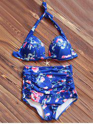 Halter High Waisted Tropical Bikini