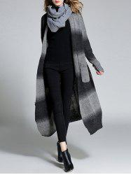 Color Block Furcal Long Cardigan