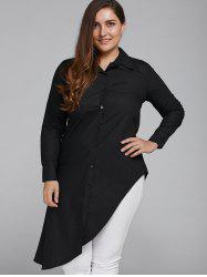 Long Sleeve Casual Plus Size Asymmetrical Shirt -
