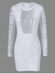 Tight Mesh See Through Sheer Lace Dress - WHITE M