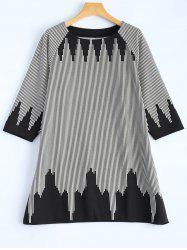 Plus Size 3/4 Sleeve Striped T-Shirt - WHITE ONE SIZE