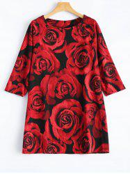 3D Rose Print Plus Size 3/4 Sleeve T-Shirt -