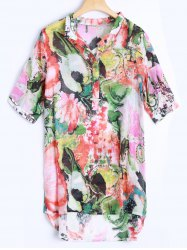 Plus Size Asymmetrical Abstract Print Blouse