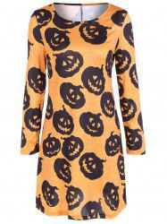 Pumpkin Print Long Sleeve Halloween Mini Swing Dress