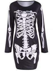 Skeleton Print Long Sleeve Halloween Mini Dress -