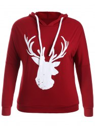 Fawn Print Christmas Jumper Hoodie - WINE RED 4XL