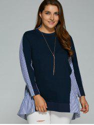 Long Sleeve Plus Size Striped Insert Top