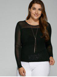 Plus Size Hazy Yarn Insert Elastic T-Shirt