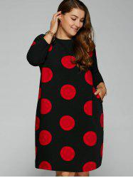 Side Slit Big Polka Dot Plus Size Dress -