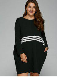 Long Sleeve Striped Cocoon Dress with Pocket