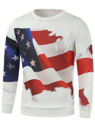 3D American Flag Print Long Sleeve Sweatshirt -