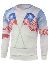 American Flags Print Long Sleeve Sweatshirt