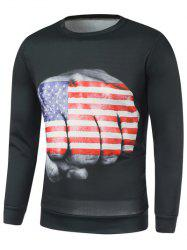 American Flag Fist Print Long Sleeve Sweatshirt -