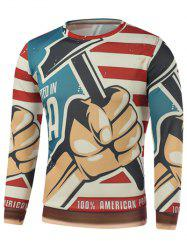 Fist Hammer Letter Stripe Print Long Sleeve Sweatshirt