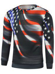 American Flag Star Print Long Sleeve Sweatshirt - BLACK