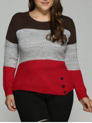 Plus Size Color Block Pullover Knit Sweater - COLORMIX 4XL