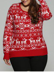 Plus Size Christmas Jacquard Knit Sweater - RED