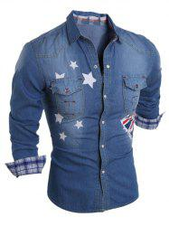 Star Flag Printed Long Sleeve Pocket Denim Shirt