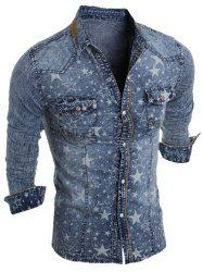Star Printed Long Sleeve Pocket Denim Shirt