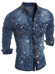 Star Printed Long Sleeve Pocket Jean Shirt