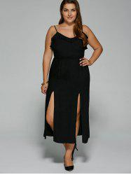 Plus Size Flounced High Slit Cami Dress
