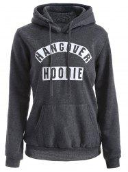 Drawstring Letter Pattern Flocking Hoodie - DEEP GRAY