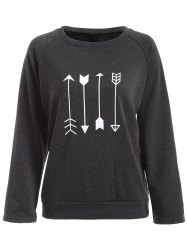 Arrow Print Flocking Sweatshirt -