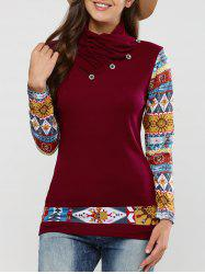 Long Sleeve Tribal Print T-Shirt - CLARET XL