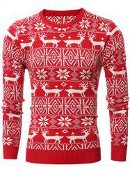 Deer Pattern Crew Neck Snowflake Christmas Sweater - RED