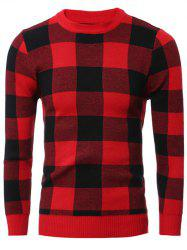 Slim-Fit Crew Neck Checkered Pullover Sweater