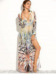 African Print Long Sleeve Plunging Maxi Dress -